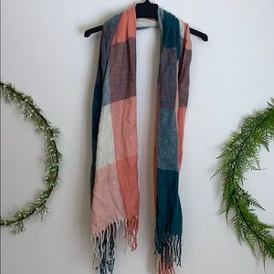 Peach and green plaid winter scarf